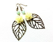 Spring Flower Earrings, Mint and Lemon Cream,  Leaf Earrings, dangle earrings, primitive nature earrings