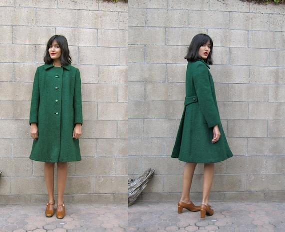 1960s coat/ vintags 60s Mad Men winter jacket/ emerald green swing coat M