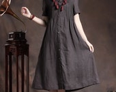 Linen Shirt Dress in Charcoal / Long Shift Dress with tucks / Black Kaftan Dress/ Long Caftan / Oversized Dress, XL,XXL, plus custom C1004
