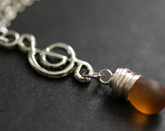 Clouded Amber Teardrop Necklace. Musical Note Necklace. Treble Clef Necklace. Music Necklace in Silver. Handmade Jewellery.