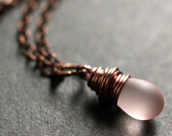 Teardrop Necklace. Copper Necklace. Clouded Pink Teardrop Necklace. Bridesmaid Necklace. Handmade Jewellery.