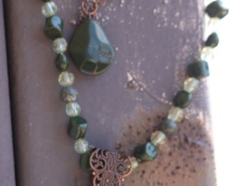 Elegant Olive green  stone and crystal with copper filligree double chain necklace and earring set  OOAK