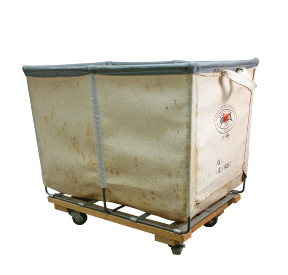 Vintage Industrial Canvas Amp Leather Laundry Cart Small