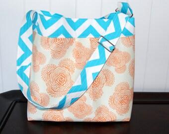 Medium Diaper Bag ,Aqua Chevron and Orange Floral- The Parker
