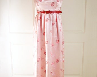 Vintage 60s pink dress/ brocade/ red roses/ handmade long party dress/ floral brocade/ sleeveless gown/ empire waist/ prom formal wedding