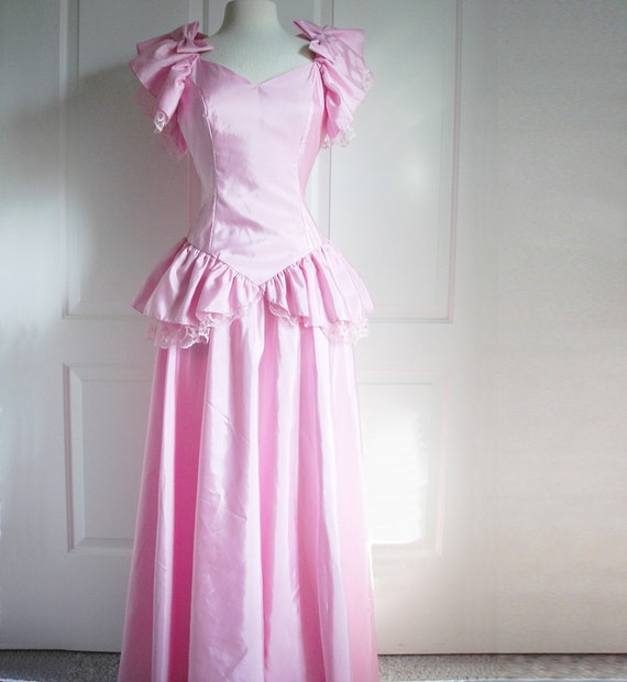 Vintage 80s Pink Party Dress/ Peplum Taffeta Prom Dress/ Lace/