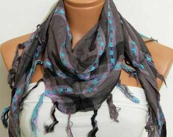 Unisex cotton fabric scarf,purple turquoise scarf...Necklace Scarf....Super light.Shawl,Wrap,Bandana,Headband,Beach Pareo..