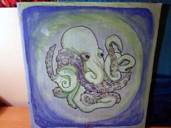 "Dismal Octopus safely kept art 9 3/4"" x 10 1/4"" cardboard"
