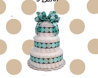 3 Layer Mint and Brown Modern Dot -  Baby Shower Diaper Cake Gift Set