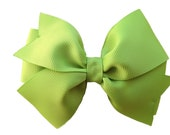 Apple green hair bow - apple green bow, 4 inch hair bow