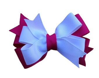 Custom 3 inch double pinwheel hair bow - layered hair bow, you choose colors, 3 inch bow, girls hair bow, pinwheel bow, toddler bow