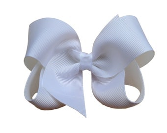 4 inch white hair bow - white bow, 4 inch bows, boutique bows, girls hair bows, toddler bows, girls bows, white hair bows, girls white bows