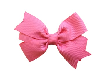 Coral hair bow - pink hair bow, salmon hair bow