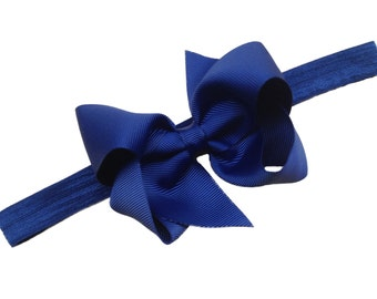 Navy blue baby headband - navy bow headband, baby headband, newborn headband, navy blue baby headband, baby girl headband