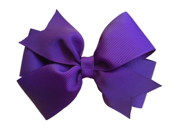 4 inch dark purple hair bow - purple bow, 4 inch bows, pinwheel bows, girls hair bows, toddler bows, girls bows, hair clips