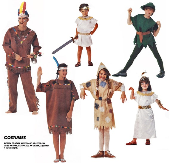 1989 Vintage, Adult Masquerade Costumes: Peter Pan, Indian, Squaw, Scarecrow, Cleopatra or Marc Antony, McCall's 4525, Uncut