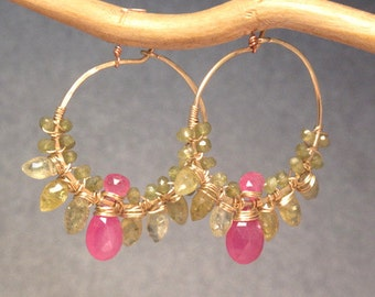 Hoop earrings with green garnet and pink sapphire Cleopatra 114  beadwork, dangle