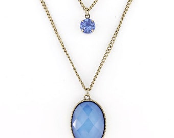 VINTAGE Feel Blue Stone Double Chain Crystal Necklace A3