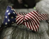 "Boy's Stars and Stripes Reversible Freestyle Bow Tie (8""-13"")"