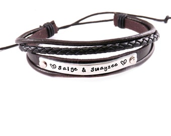 Personalized Brown Leather Cuff Bracelet -  Hand Stamped Aluminum and Leather Bracelet - Adjustable - Leather Cuff Bracelet - Mom - 1168