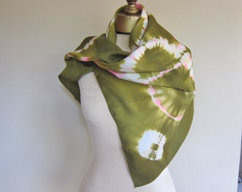 Silk scarf, 70s tie dye, hippie clothing , boho silk scarf, olive green, large  square