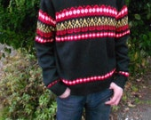 Vintage 80s/90s Black and Red Sweater with Flame Design size M/L