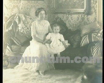 Wealthy Edwardian Woman Beautiful Baby Antique Photo Oscar Grossheim Muscatine IA Polar Bear Skin Rug Antique Photograph