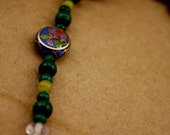 vintage GREEN and  CLOISONNE beaded BRACELET