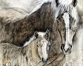 A Pair Of Queens,print from the original oil painting of a mare horse and her new colt, horse painting, horse art