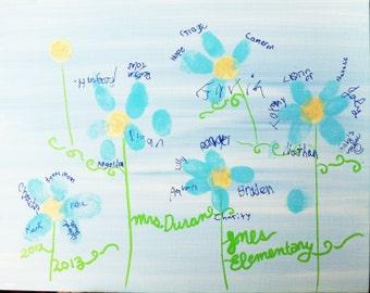 Fingerprint Flower Petals Guestbook / Keepsake 11x14