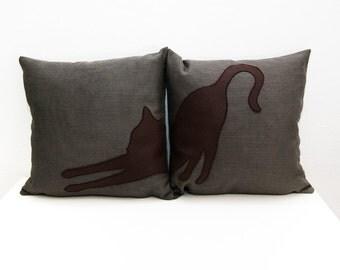 Stretching cat pillow covers,  brown and dark brown, decorative pillows, sofa pillows, dorm pillow, pet pillow, pillow set, cushions