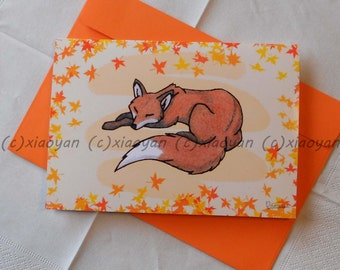 fox greeting card - autumn illustration - forest animal note - cute notecards