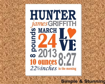 "8x10, Custom Birth Print, Baby Announcement, Birth Announcement, ""Hunter"""
