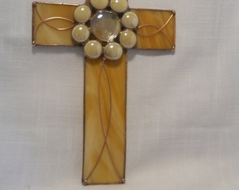 Cross Stained Glass Cream and Beige