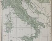 Vtg Italy Map, 1928