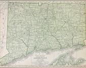 Vtg Connecticut Map, 1928
