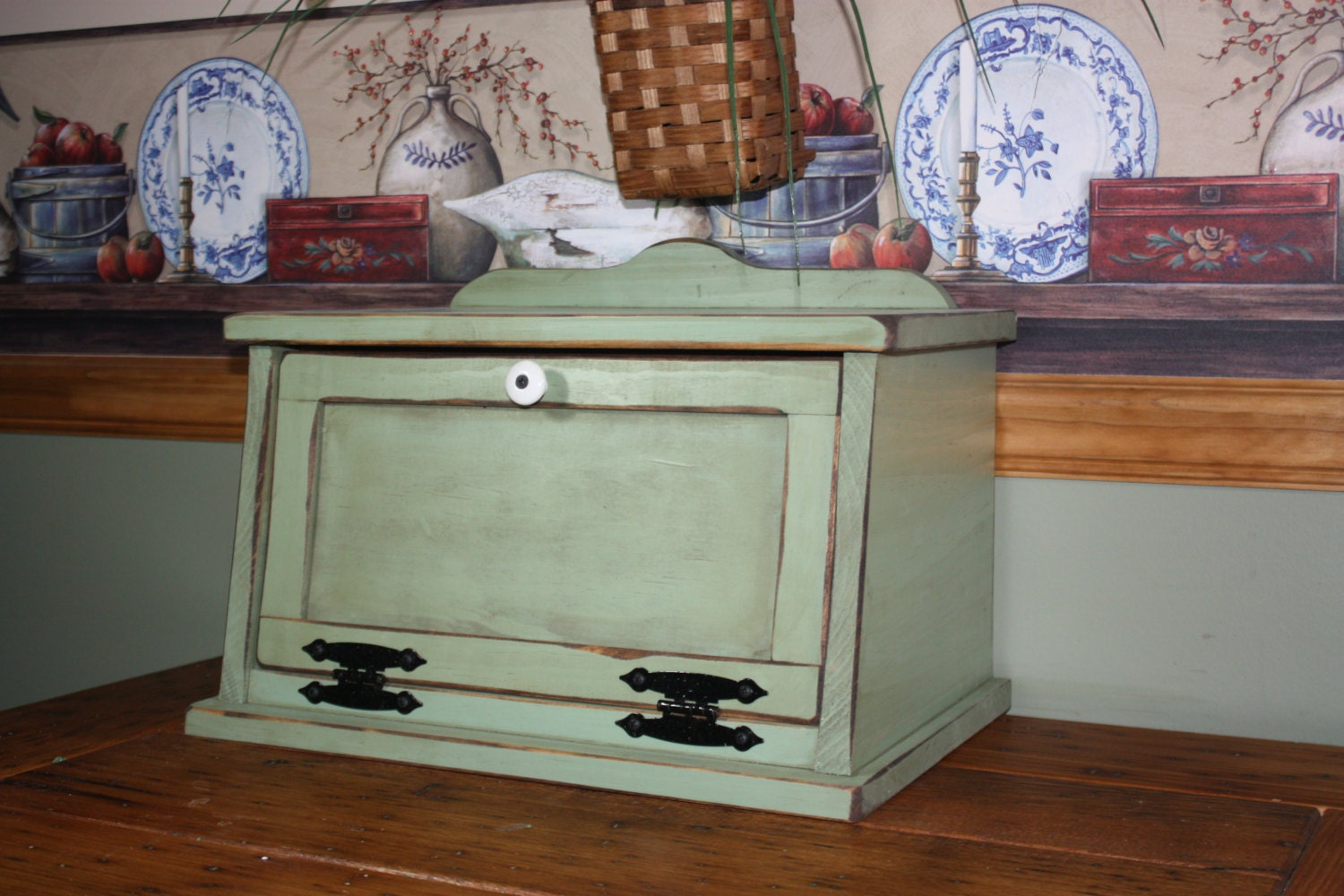 Shabby Chic Country Kitchen Bread Box Free Shipping Shabby Chic Wood Kitchen
