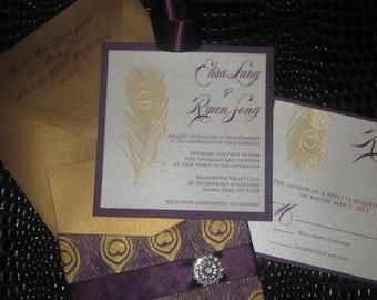Pure Elegance Purple and Gold Peacock Wedding Invitation