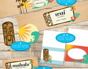 Printable Luau / Hawaiian Party Decor Package