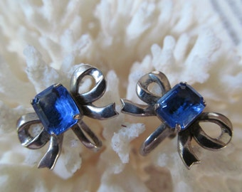 Retro sterling silver bow earrings blue glass screw back