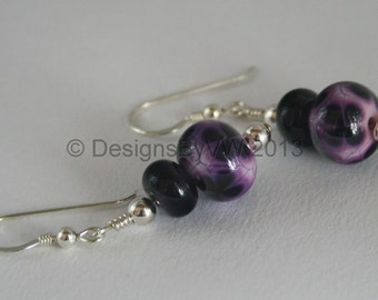 Purple Flower Lampwork Glass Earrings