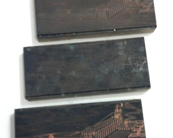 Antique printing plates wood and copper printing plate Baking Advertising industrial revolution