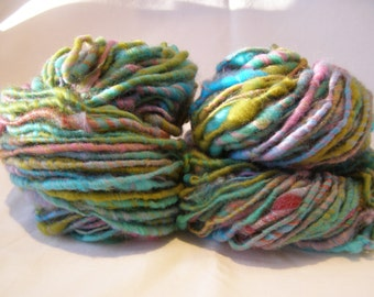 Corespun Fluffy Art Yarn, 'Springtime' Handspun, Blue, Green, Pink, Single, 110 yards, 3.4oz