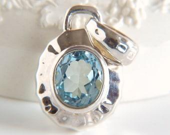 Sterling Silver Blue Topaz Pendant - Milor - Italy