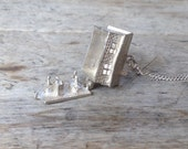 Vintage Pub Sterling Silver Locket Necklace antique pendant charm opens up a pub, bartender and person drinking beer
