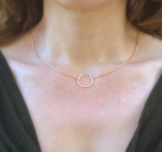 karma circle halskette gold kette 14k gold fill von juljewelry. Black Bedroom Furniture Sets. Home Design Ideas