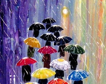 Original Painting Umbrellas-2 - Acrylic Rain Painting - Blue Red Orange -  Abstract Landscape - Large Size - Made To Order