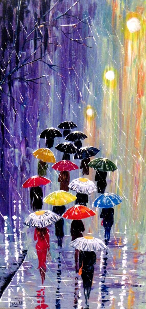Items similar to original painting umbrellas 2 acrylic - Technique peinture bois ...