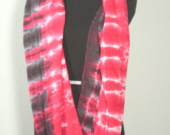 """Tie Dyed Rayon Circular  Infinity Scarf, Red and Black, 77"""" around by 21"""" wide, Ready to Ship"""
