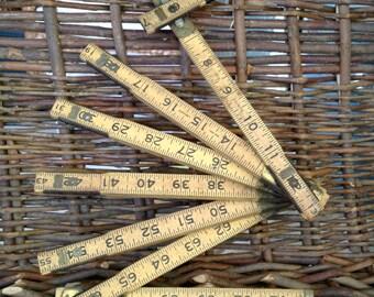 Vintage Wooden Folding Ruler- 72 Inch Extension Ruler- Vintage Tool- Measuring
